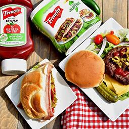 flat lay hamburger jalapeño french's ketchup UGC content